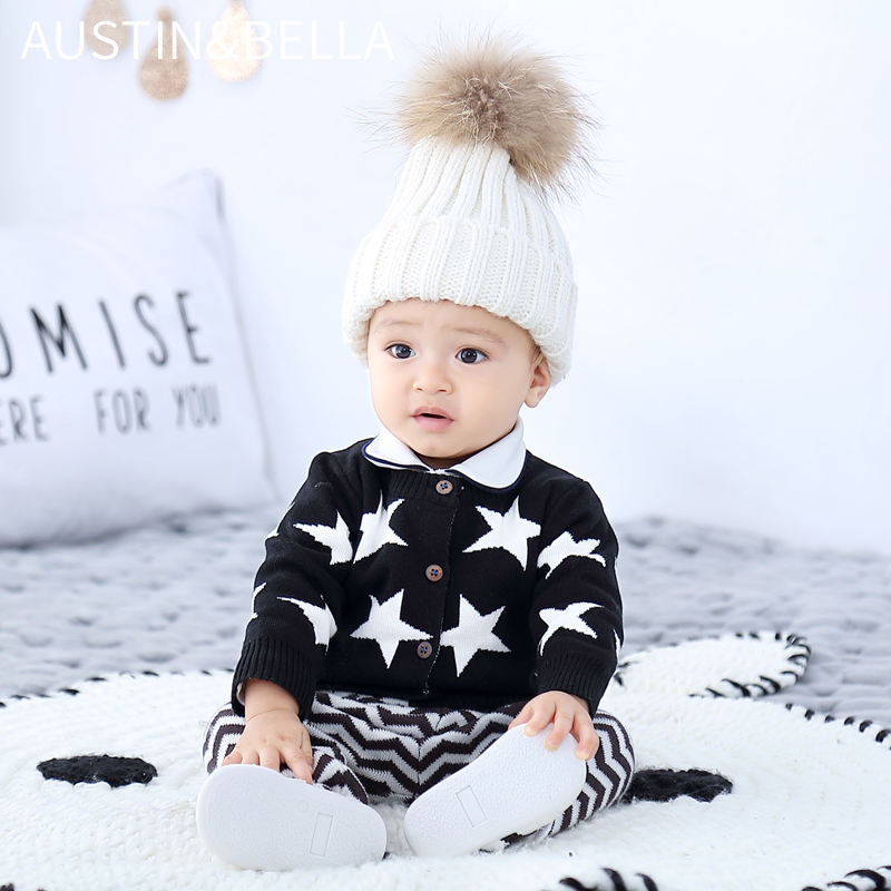 AustinBella/wholesale boutique high quality knitted autumn baby boy clothes 100% cotton baby cardigan