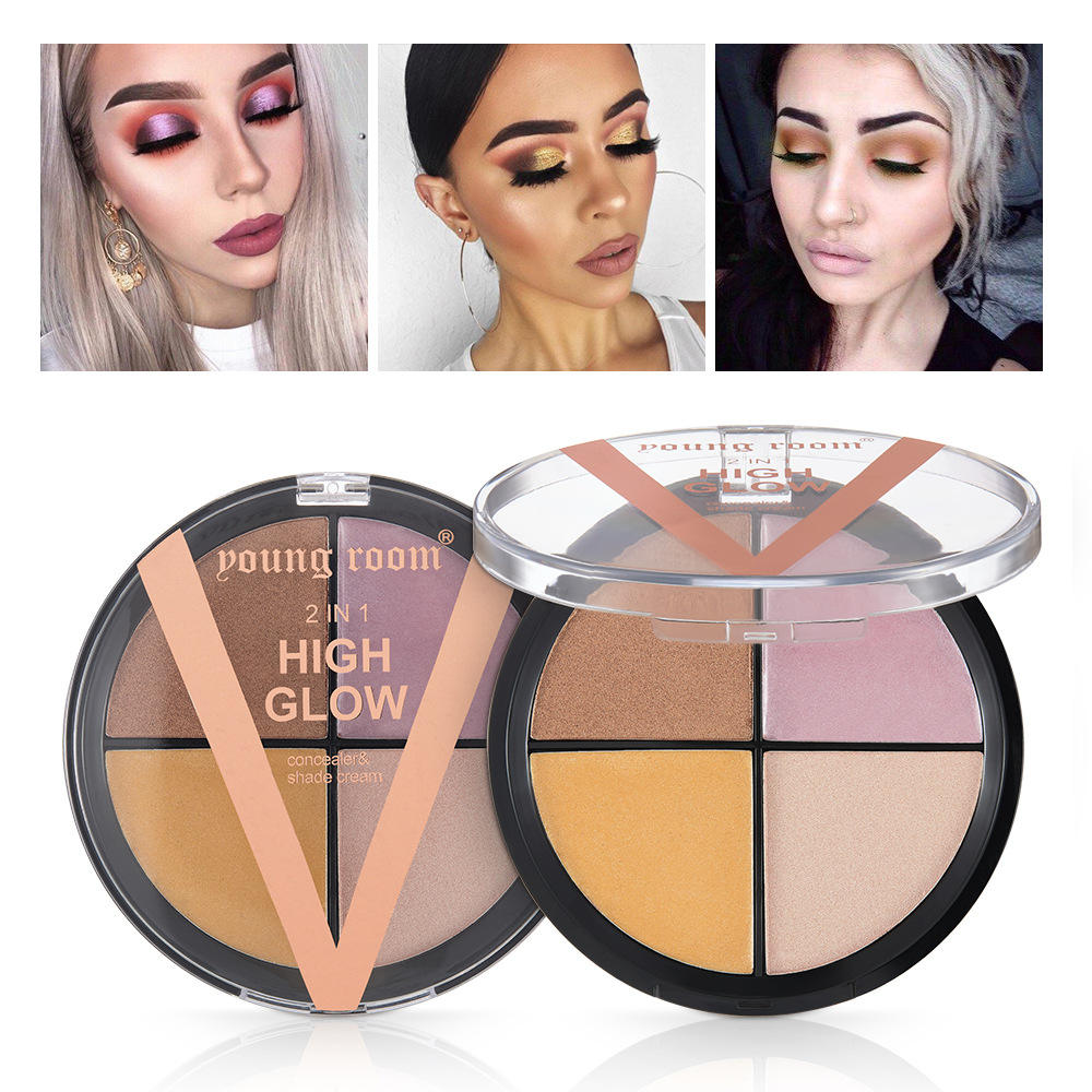 Cosmetic 2 in 1 waterproof highlighter makeup shade cream for face makeup