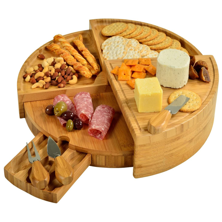 Patented Bamboo Cheese Board with Knife Set
