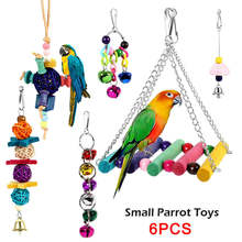 Pets Bird Parrot Toys Play 6pcs Set for Cage, Colorful Chewing Hanging Swing Toy Bells, Ladder Swing for Small Parrots, Macaws,