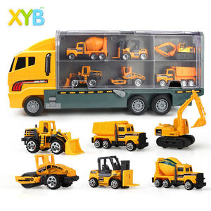 6 in 1 Die-cast Construction Truck Vehicle Car Toy Set Play Vehicles in Carrier Engineering Cargo Truck Models