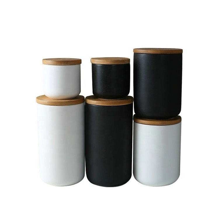 New Design 2020 Cheap Wholesale Matte Black White Kitchenware Tea Sugar Coffee Ceramic Storage Canister Set with Bamboo Lids
