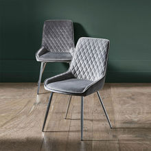 cheap price hot sale home furniture modern gray velvet fabric dining chair with metal legs