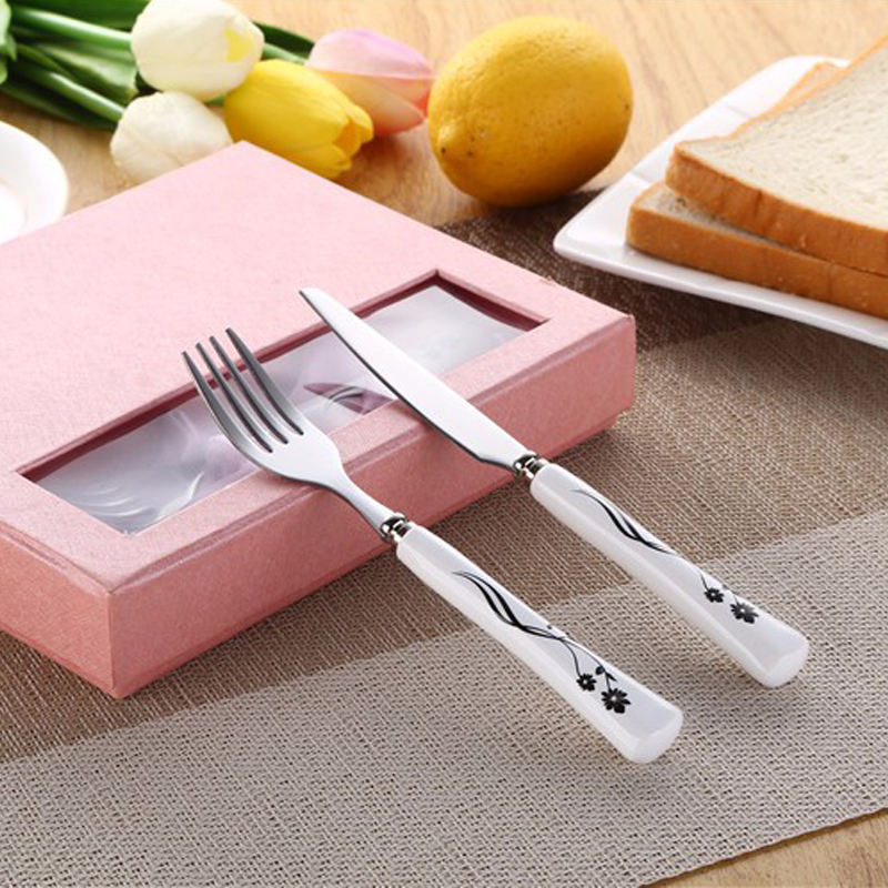 Fruit Forks and Knives With Porcelain Handle Inox Pitch Fork Stainless Steel Cutlery Gift Set