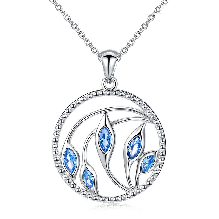 Fashion Real Silver Flower Jewelry Round Blue Calla Lily Necklace