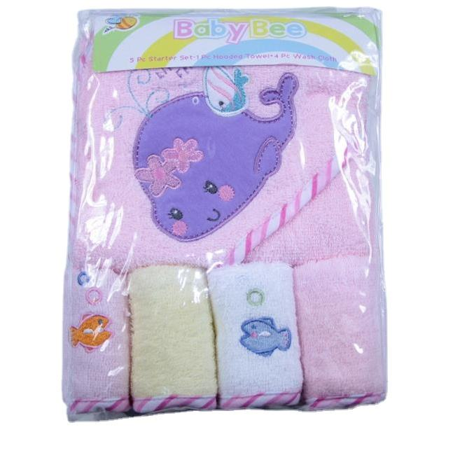 Hot sale fashion baby blanket gift set 5 pieces pack solid embroidered baby hooded blanket