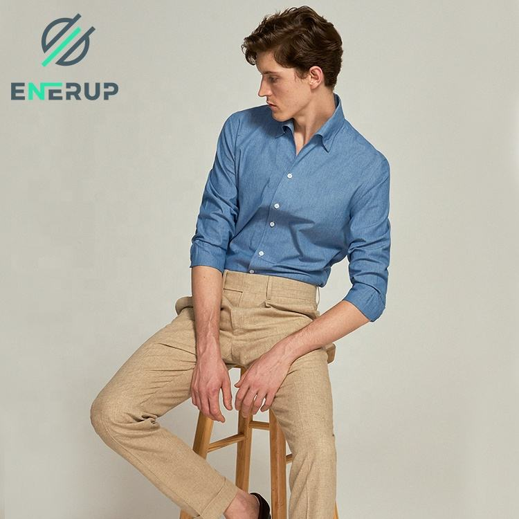 Enerup <span class=keywords><strong>OEM</strong></span>/ODM Neues Design Hochwertige Slim Fitting Office Business Casual Denim Herren Herren <span class=keywords><strong>hemden</strong></span>