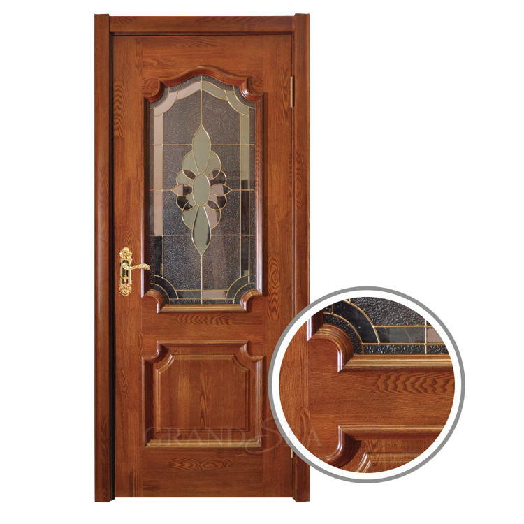 Fashion design half colour wooden MDF/HDF flush details hinged door with glass screen