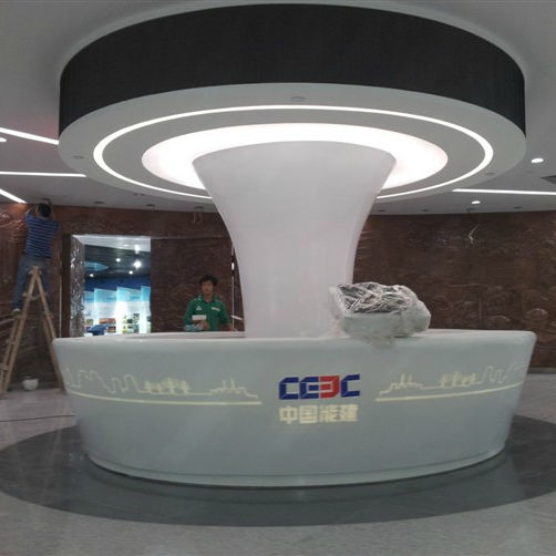 custom modern Office furniture white artificial stone solid surface round hotel airport reception desks