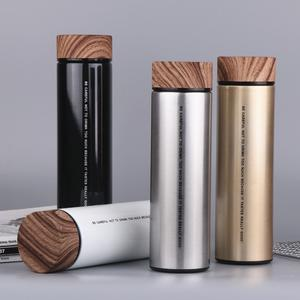 Wholesale custom thermo 500ml stainless steel thermos vacuum flask travel mug with wooden lid