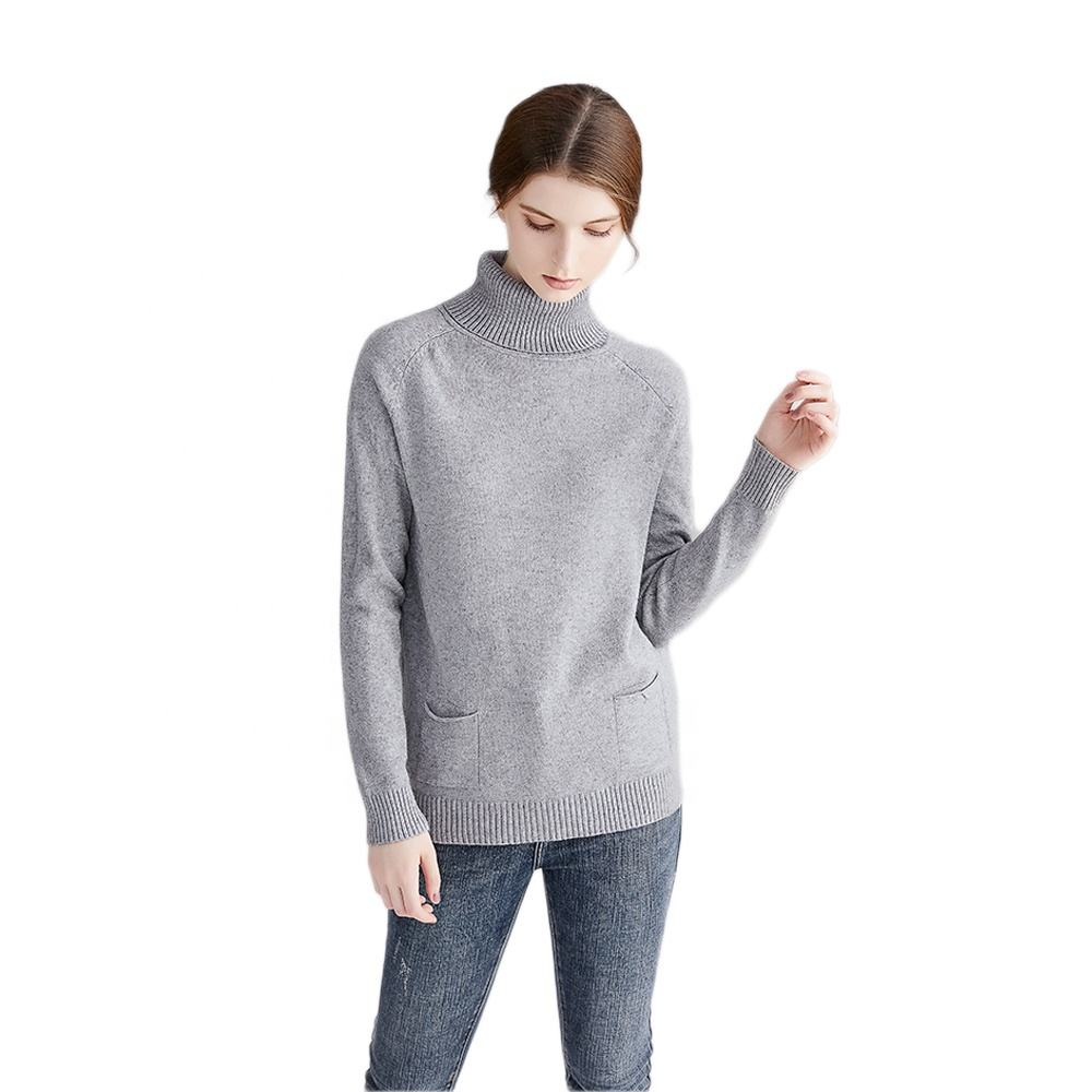Italian Name Brand Solid Pullover Tricot High Neck Sweaters For Women