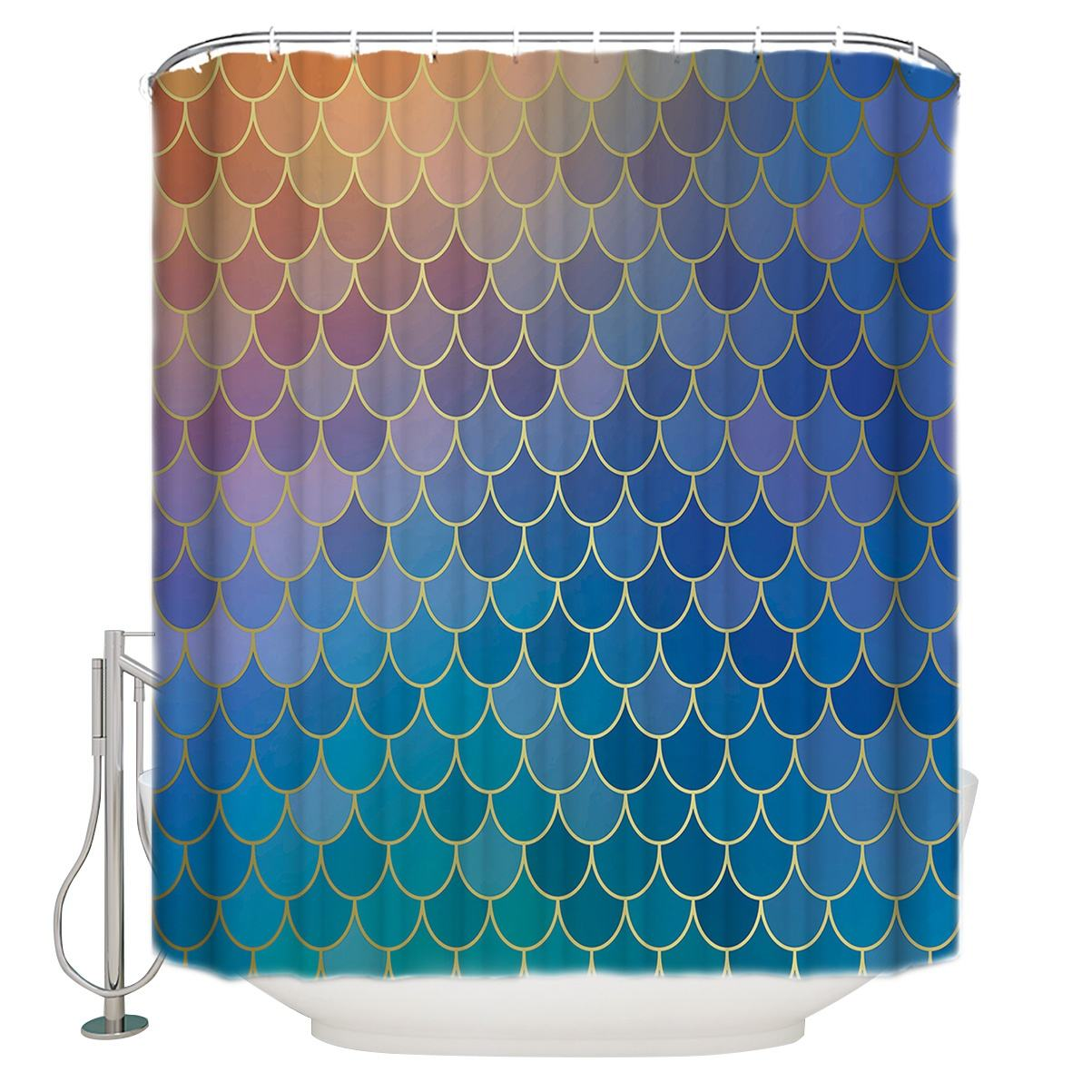 3D Mermaid Scales Shower Curtain Fish Scale Mermaid Geometric Tail Ocean Theme Bathroom waterproof shower curtains