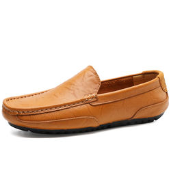 Classic Split Leather Men Loafers Slip-On Boat Shoes Men Cas
