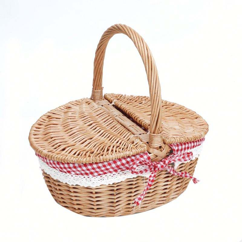 Oval Gift Willow Bread Handmade Wicker Storage Basket With Handle