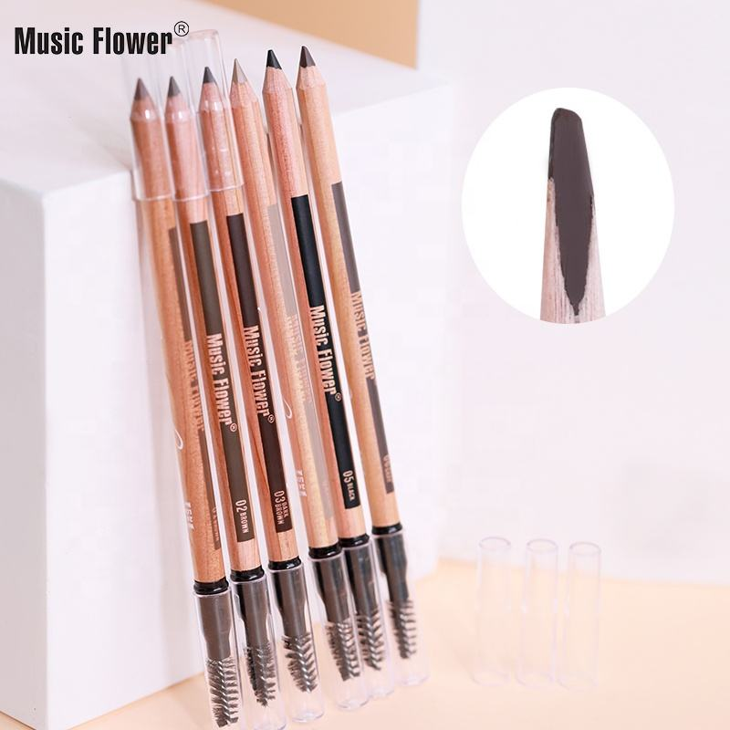 Longlasting Fine Sketch Smooth Brow Tattoo Tint Pen With Brush Cosmetic Makeup Beauty Tool Music Flower Wooden Eyebrow Pencil