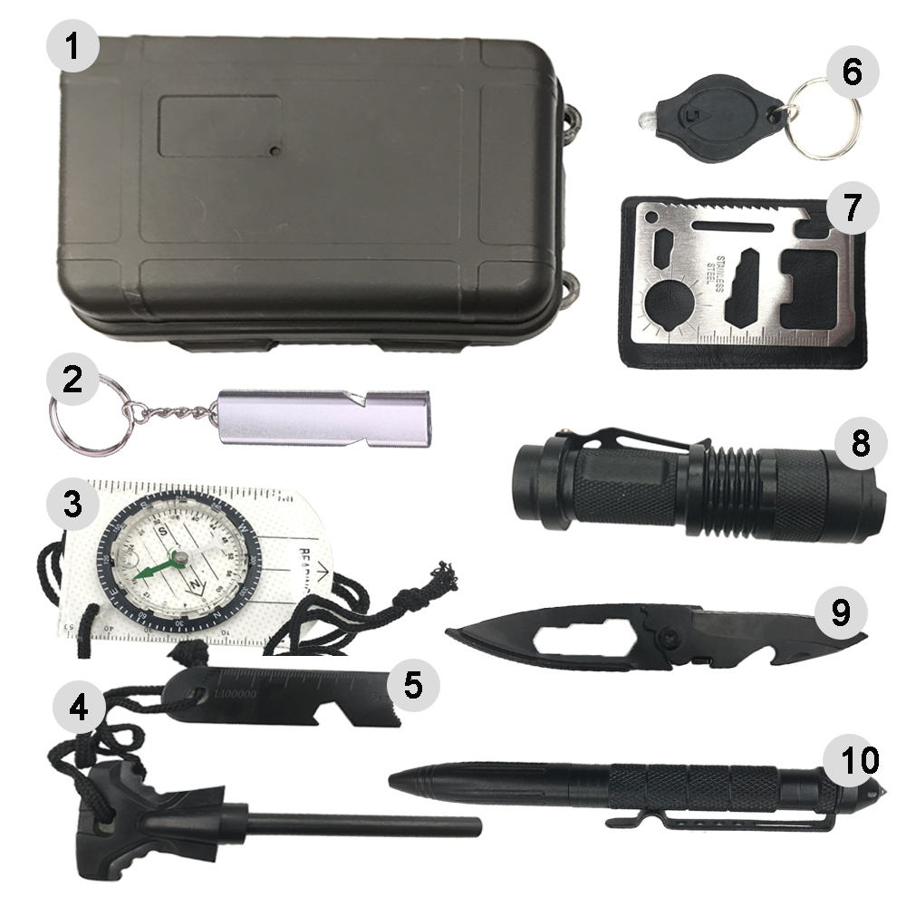 Hot sell Outdoor camping emergency military tactical Emergency Survival Kit 10 in 1 Survival kit
