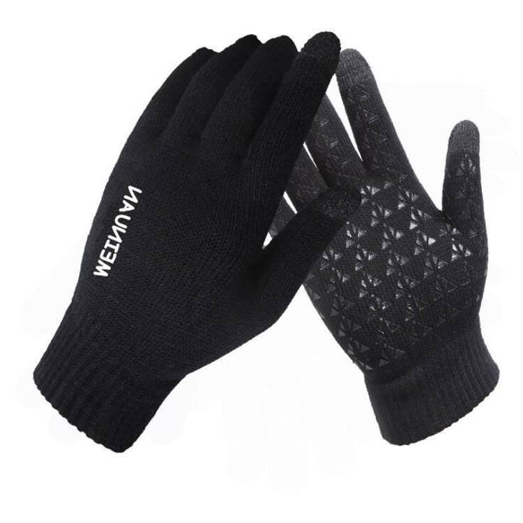 Thick knit gloves for mobile phone screen autumn and winter warm wool cashmere solid gloves ladies men's gloves