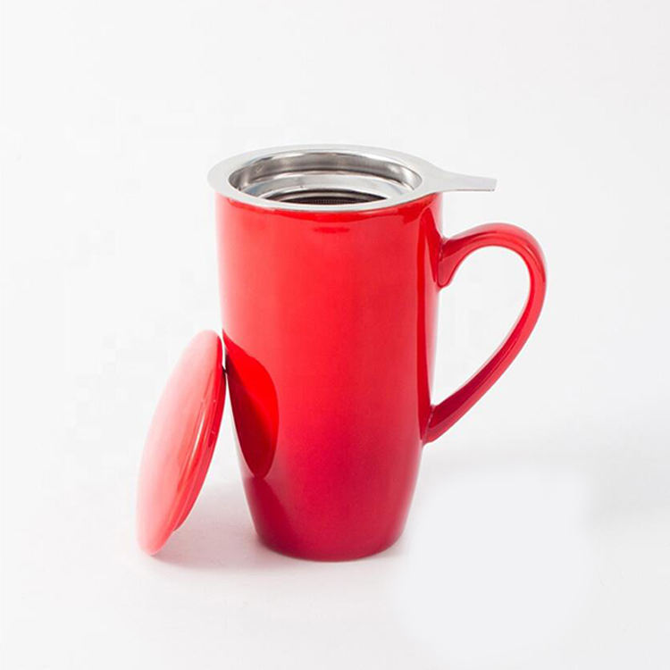 Hot Sale 16.5OZ Custom Colored Handle Ceramic Travel Tea Cup Set with Stainless Steel Infuser and Lid