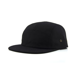 OEM Black blank cotton flat brim woven label custom 5 panel cap for men