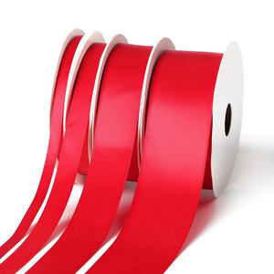 Custom sublimation printing single sided red satin ribbon tape for Christmas