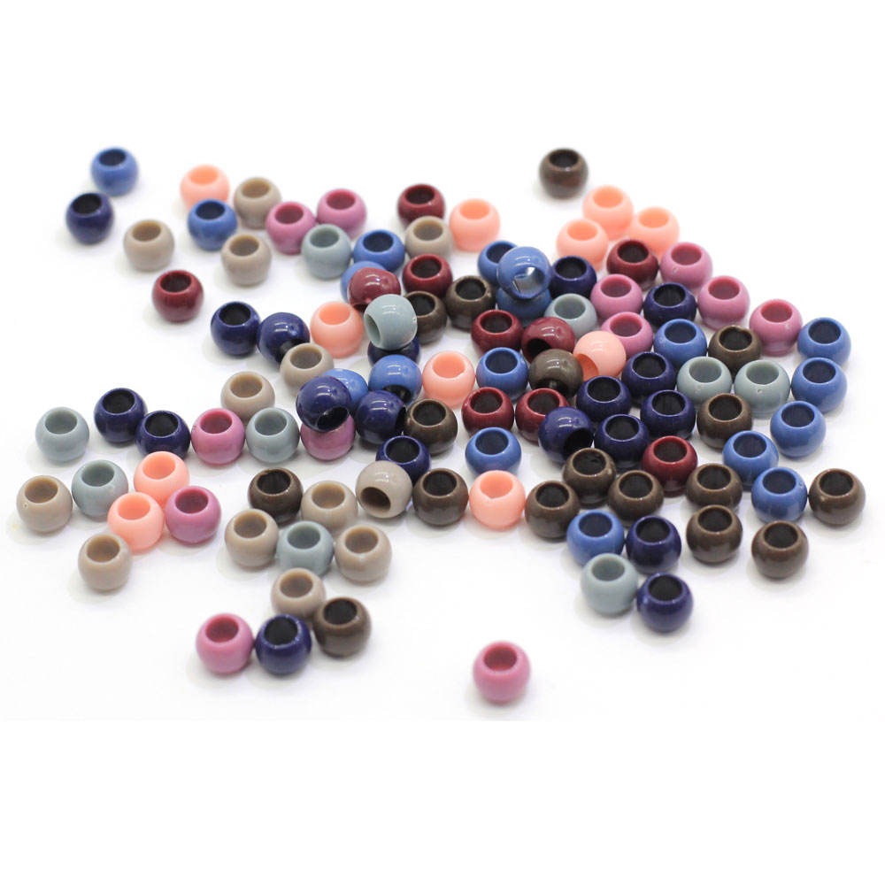Plastic Opaque Pony Beads Tube Loose Spacer Beads for Children Jewelry Craft