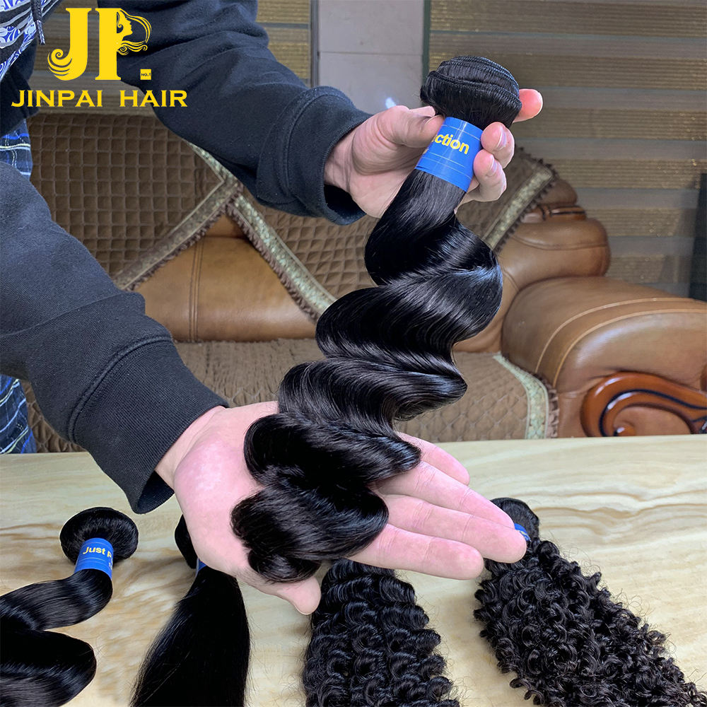 JP hair cuticle aligned intact virgin raw human hair loose deep wave with closure 4 bundles,brazilian human hair extensions