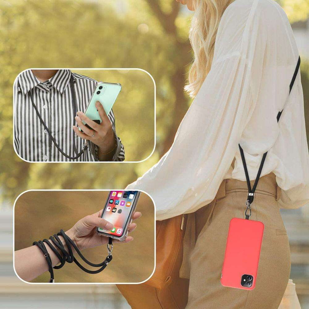 Phone Lanyard with Comfortable Nylon Neck Strap, Key Chian Holder Detachable 2 in 1 Crossbody Cell Phone Lanyard with Quick Rele