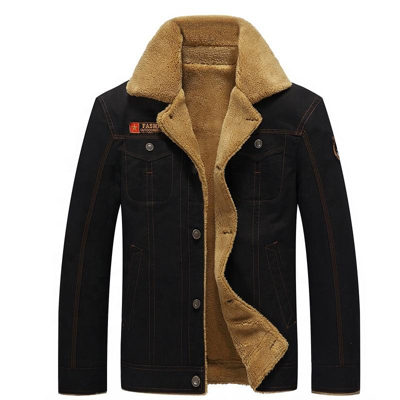 2021 Hot Sells Casual Winter Fur Lining Coat Warm Thick Military Outdoor Plus Size Jacket For Men