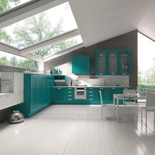 Modern style solid wood green color kitchen cabinet