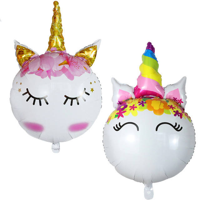 Unicorn Head Foil Balloons Rainbow Animal Balloon Kids Baby Shower Toys Birthday Unicorn Party Decoration Supplies Ball