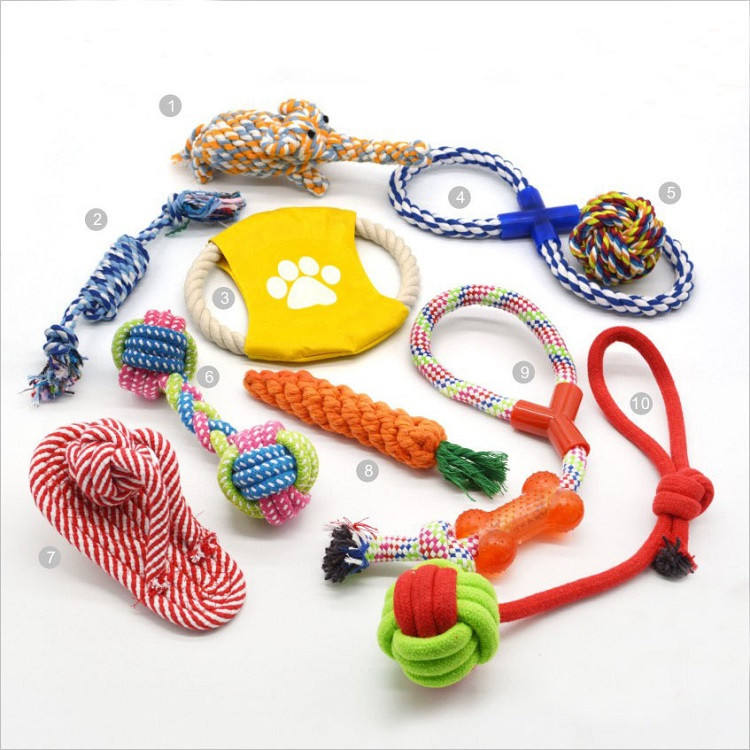 Eco-Friendly Stocked Bulk Cheap Hand-Woven Super Strong Bite-Resistant Set Chew Interactive Pet Dog Rope Toys