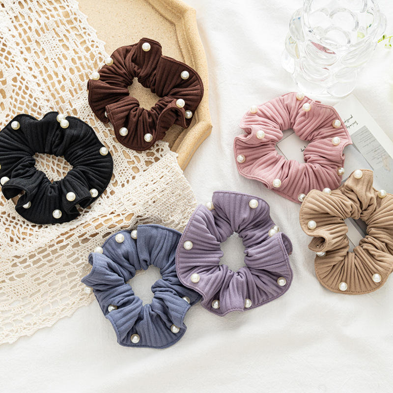 LRTOU Wholesale Latest Design Fashion Women Elastic Ponytail Holders Hair Accessories Hair Ties Flower Wrinkle Pearls Scrunchies