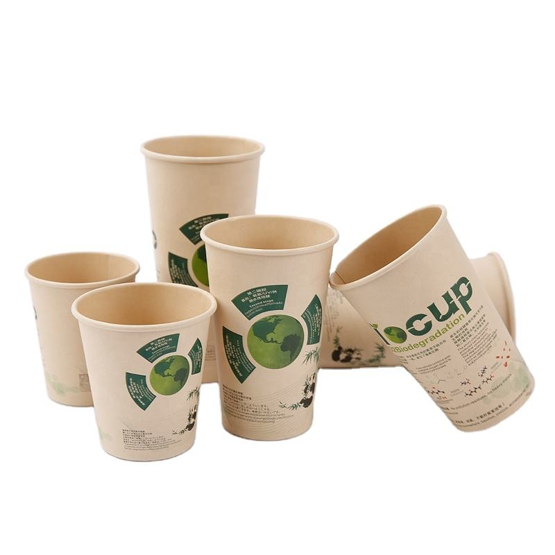 8oz 10oz 12oz Biodegradable Disposable PLA Printed Design Compostable Bamboo Paper Cup with Logo and Lids for Hot Coffee and Tea