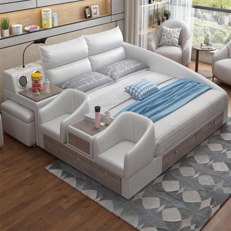 Nuevo multifuncional de cama de cuero con caja de almacenamiento y muebles dormitorio de la madre y el niño la cama