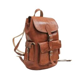 Factory Sale Brown Moroccan Handmade Unisex Leather Fashion Backpack Bag