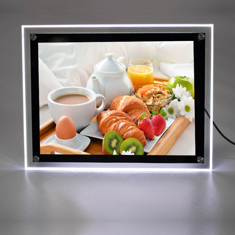 restaurant shop use crystal led display board advertising sign board led display waterproof A3 A4 LED Crystal light box
