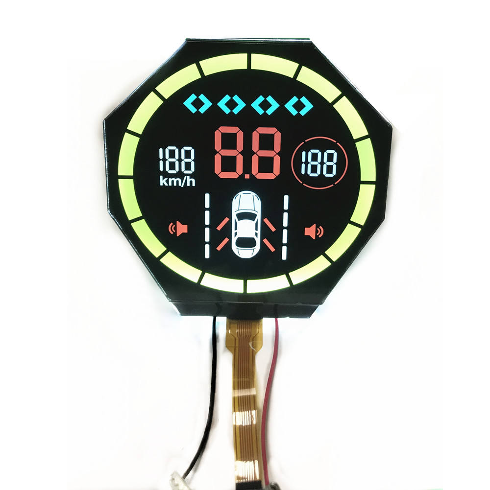 Custom VA Black Round Segment LCD Display Yellow/Green/Red/ Color LCD