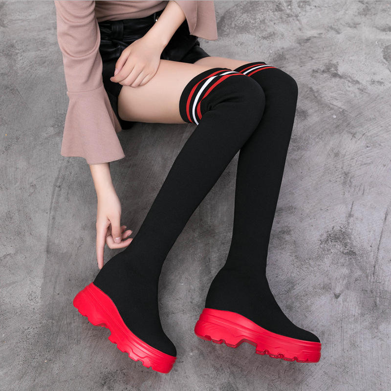 High Quality Women Elastic Long Boots Fashion Over The Knees Long Flat Boots Increased Wedges Women Boots WomenのShoes