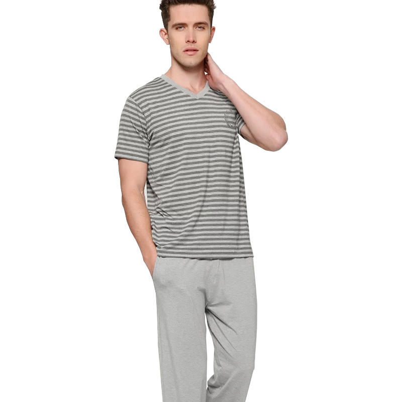 Custom Cotton Bamboo Fibers Sleepwear Men's Pajamas Set