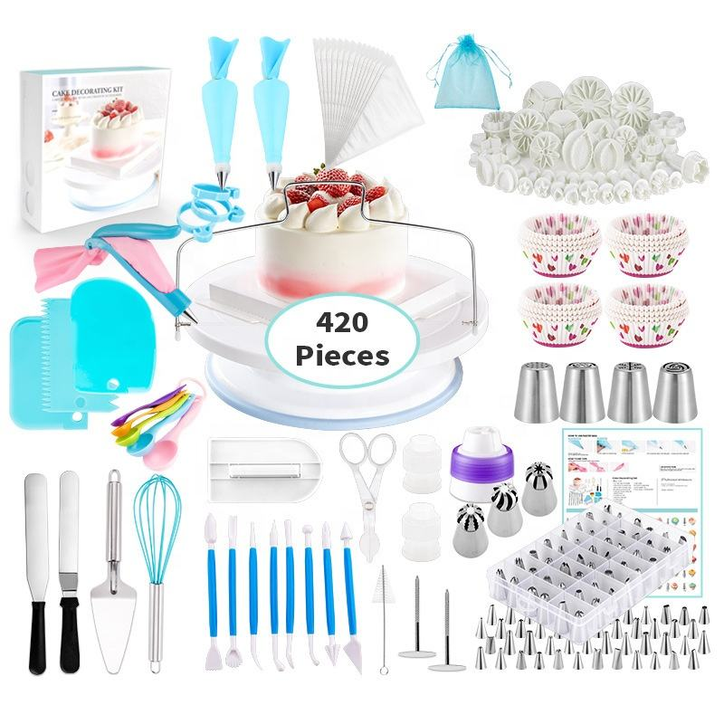 Beheart Wholesale Pastry Tip Nozzle Bake Decorating Sets Paper Cup Fondant Melting Baking Tool Set 420 Pieces Cake Icing Tools