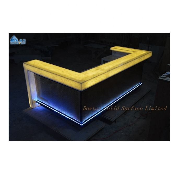 5 stars top ranked luxury LED furniture bar counter solid surface led light bar counter