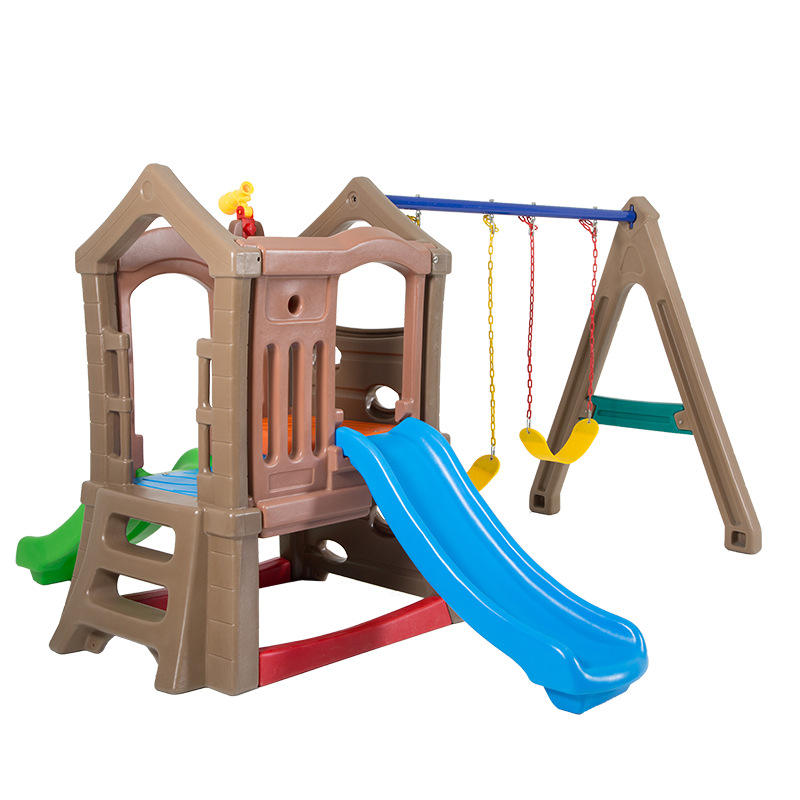 High Quality Children Indoor/Outdoor Plastic Double Slide Playground Kids Slide and Swing Set Combination Baby Garden Slide Toys