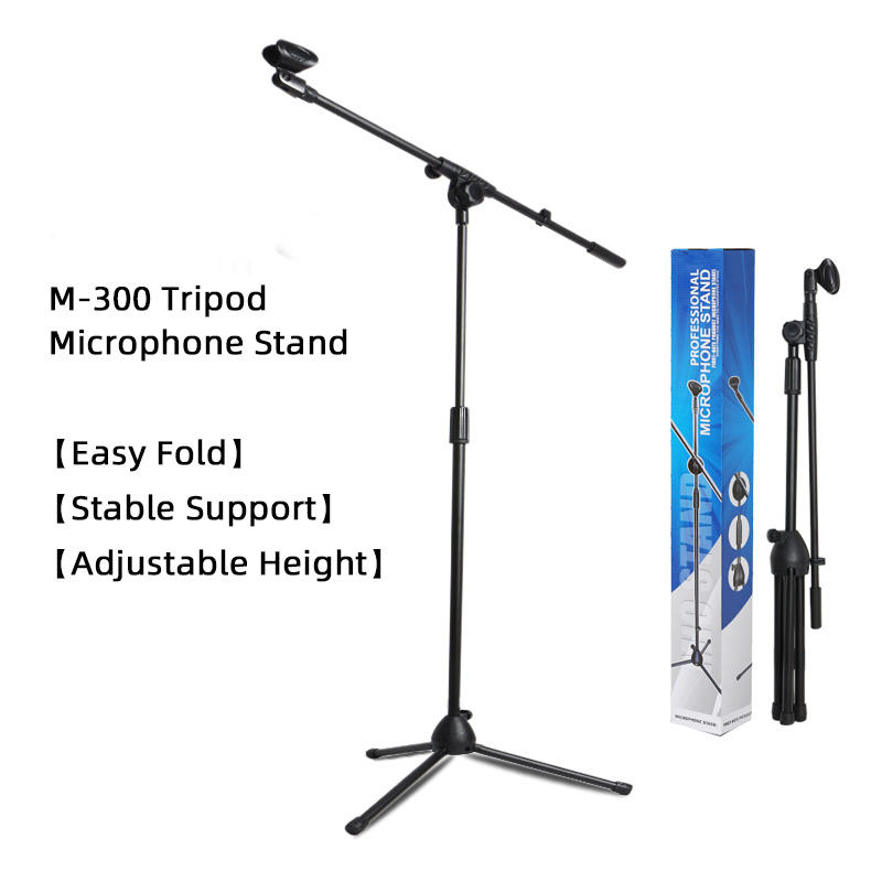 New height adjustable custom microphone stand metal studio mic stand