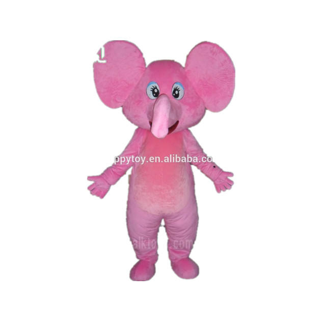 Custom pink plush elephant mascot costume adult size costume for sale