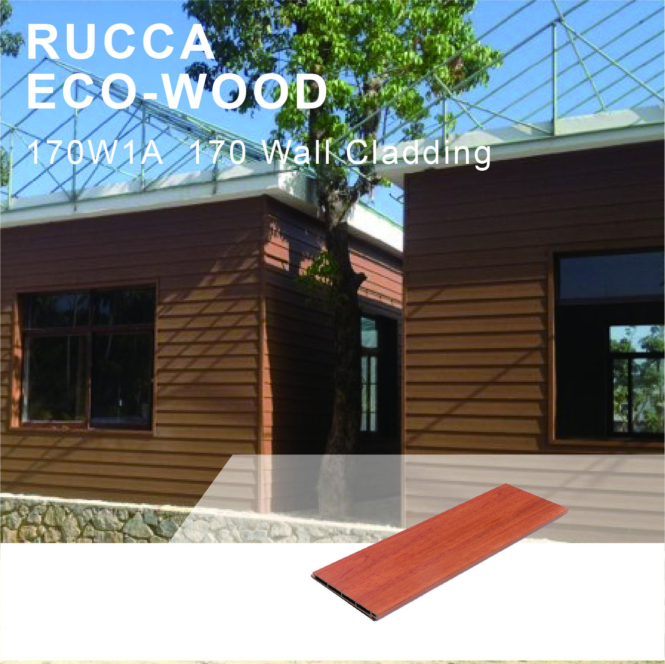 Rucca Wood Plastic Composite Decorative Sidding Wall Panels Exterior Cladding Panel Boards 170*17mm