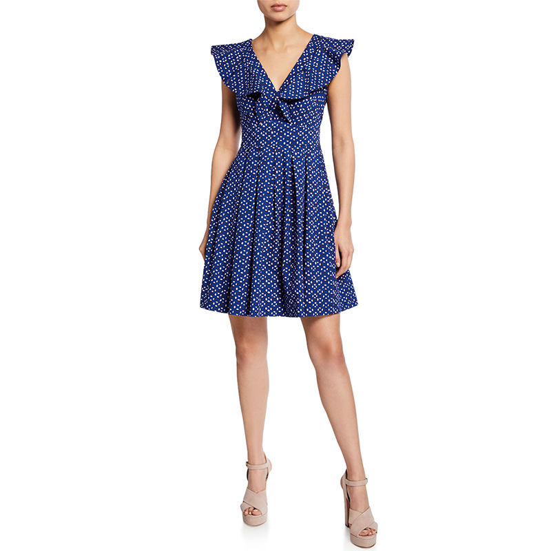 Women daily dress new york poplin dress in geometric dot print featuring ruffled trim