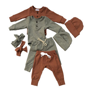 Spring blank long sleeve button baby diaper romper and drawstring harem pants matching hats rib cotton baby romper sets