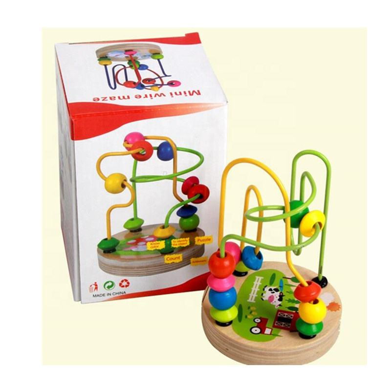 Promotional gift Colorful Baby Children Wooden Toy Mini Around Beads Wire Maze Educational Game