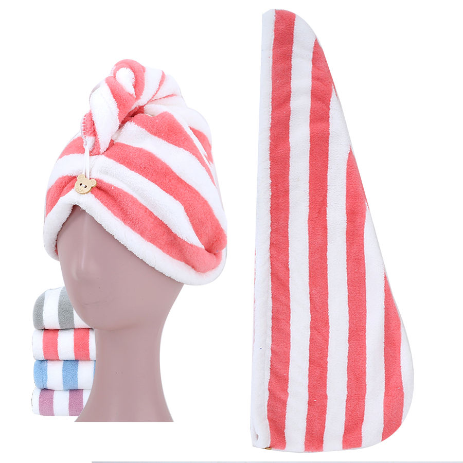 Wholesale Stripe Coral Fleece Absorbent After Shower Hair Towels Hair Salon