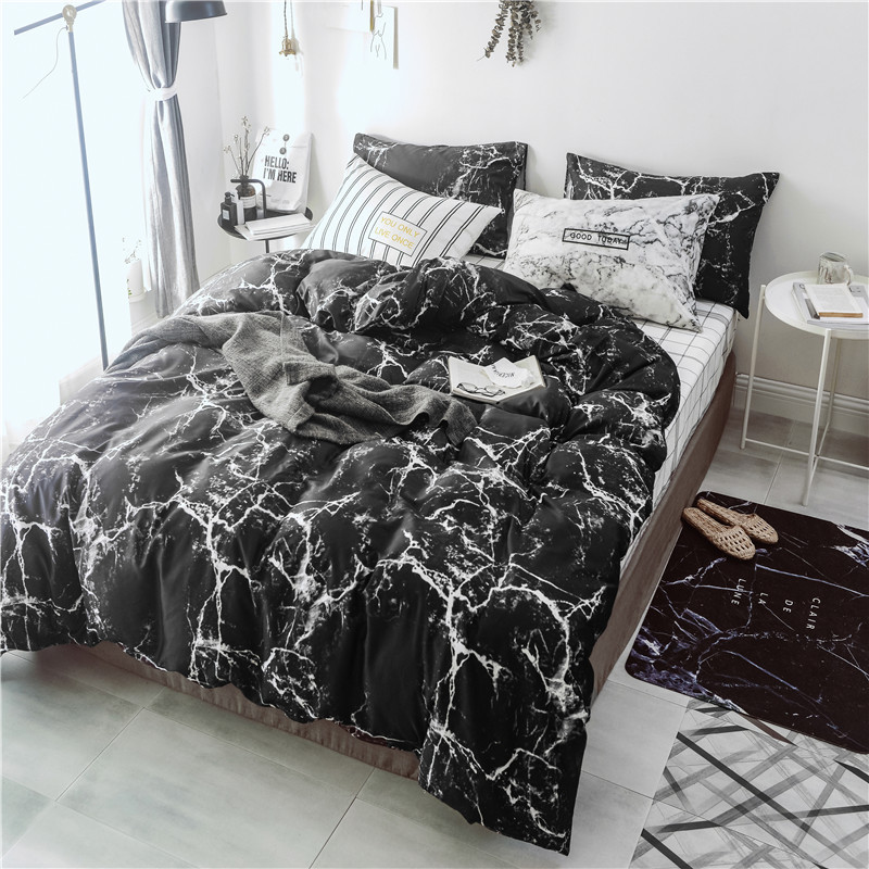Duvet Cover Flat Sheet Black Marble Stone Printed Bedding Set for King Double Size Bed